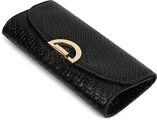styleBREAKER bolso «clutch» en diseño de estructura de palillos con pestillo de metal y cadena amovible para colgarlo, bolso de noche, señora 02012178, color:Dorado Negro