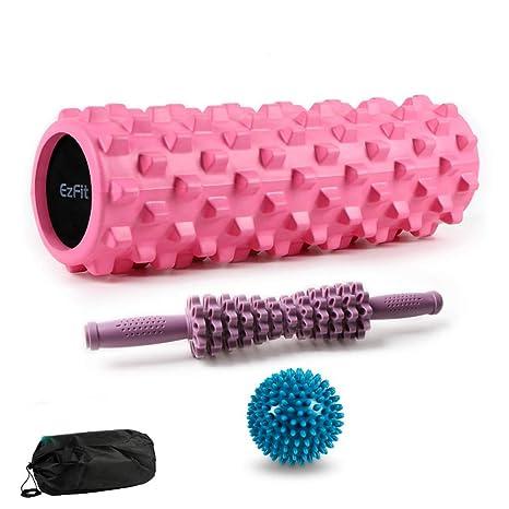 QFITNESS Foam Roller Massage Stick y balón de 3 Piezas para Masaje ...