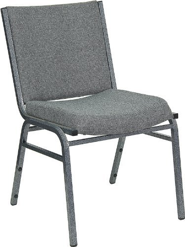 Flash Furniture XU-60153-GY-GG Hercules Series 3-Inch Thickly Padded Gray Upholstered Stack Chair (Upholstered Square Back Stacking Chairs)