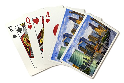 Chicago Poker - Chicago, Illinois - Skyline and River (Playing Card Deck - 52 Card Poker Size with Jokers)