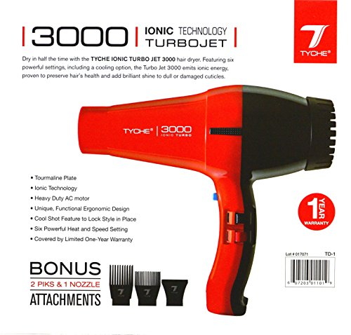 (Tyche Turbo Jet Ionic 3000 Professional Dryer (1 Year Warranty Included))