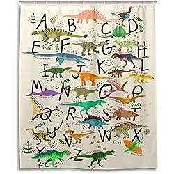 ALAZA U LIFE Dinosaurs Alphabet Decorative Shower Curtain Curtains for Bathroom Tub 60 x 72 inch