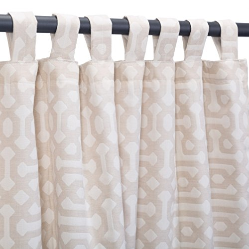 Sunbrella Outdoor Curtain Panel, Tab Top, 50 by 84 Inch, Fretwork Flax (Available in Multiple Colors and Sizes) Includes Custom Storage Bag; Perfect For Your Patio, Porch, Gazebo, Pergola, and More by Sunbrella