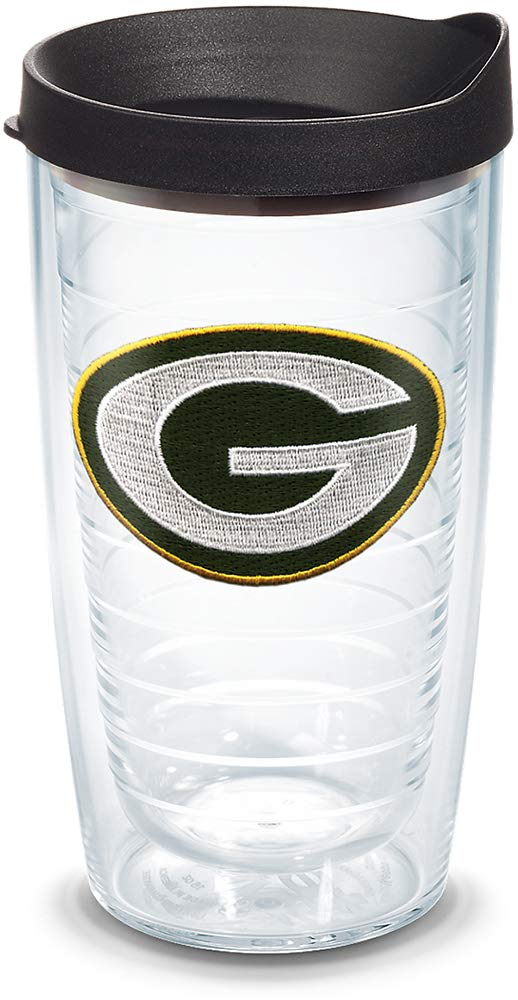 Tervis 1041768 NFL Green Bay Packers Primary Logo Tumbler with Emblem and Black Lid 16oz Clear