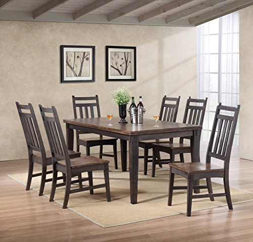 Kings Brand Emblem Grey Brown Wood Rectangular 7-Piece Dining Room Set, Table & Chairs