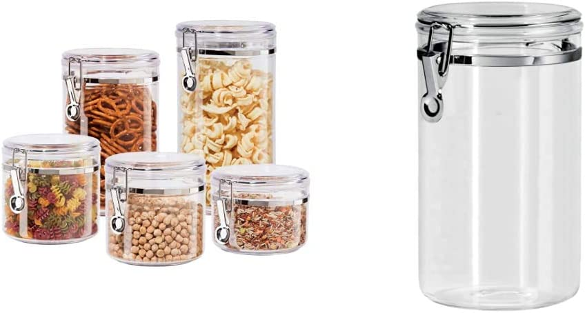 Oggi 5pc Clear Canister Set with Clamp Lids Airtight Containers in Sizes Ideal for Kitchen & Pantry Storage of Bulk, Dry Foods Including Flour & 72-Ounce Clear Acrylic Canister with Locking Clamp