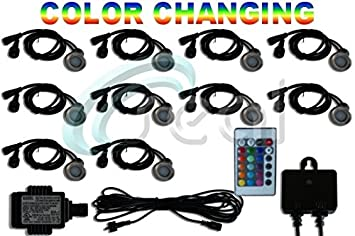 LED Deck Lights - Pack of 10 - Color Changing - RGB - Multicolor - Includes  sc 1 st  Amazon.com & Amazon.com : LED Deck Lights - Pack of 10 - Color Changing - RGB ... azcodes.com