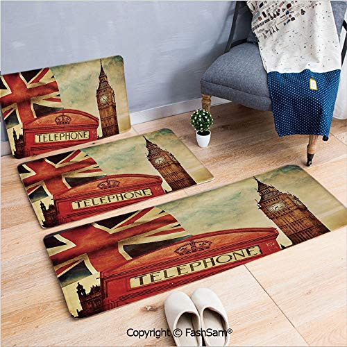 3 Piece Non Slip Flannel Door Mat Vintage Style Symbols of London with National Flag UK Great Britain Old Clock Tower Decorative Indoor Carpet for bath Kitchen(W15.7xL23.6 by W19.6xL31.5 by W17.7xL53)