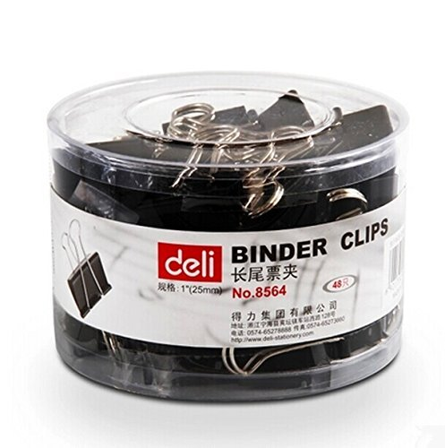 "Binder Metal Clips 25mm 1"",48 Clips Per Box Assorted Color (black)"