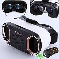 Casque de réalité virtuelle 3d, Bevifi VR Headset/lunettes/Viewer avec télécommande pour [4.2–14,7cm] Android Samsung Galaxy S7edge/S7/S6/S5, iOS iPhone 7/6/6S Plus etc.–Or rose