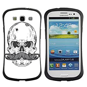 Hybrid Anti-Shock Bumper Case for Samsung Galaxy S3 / Cool Skull & Moustache