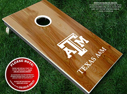 Texas Aggies Cornhole Decals | HALF SET | Color Choice | Large Decals + Ring Sticker | DIY Cornhole Board Building & Decorating | Decal Sticker Hub