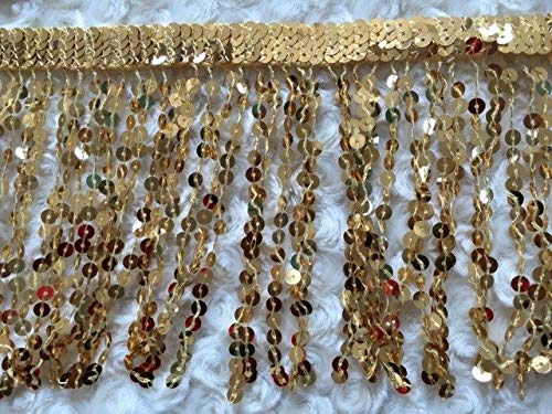 Kamas (10 Yards/lot) Sequins Tassel Fringe Width is 6 inches Decorative Fringe Curtain lace Trimming Trims and Tassels zakka DIY Laser - (Size: 6 inches, Color: Plain Gold)