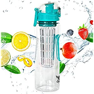 23oz Fruit Infuser Water Bottle by Danum- Top Detox Bottle- Flip Top Sport Water Bottle- BPA Free Eastman Tritan - Free Recipe eBook
