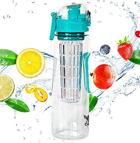 32oz Fruit Infuser Water Bottle by Danum- Top Detox Bottle- Flip Top Sport Water Bottle- BPA Free Eastman Tritan - Free Recipe eBook