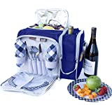 Picnic Basket Bag Set, 2 Person Insulated Tote with Cooler Compartment and Complete Flatware by PicnicVibe. Two Bottle Section Setting, Includes Wine Glasses, Plates and Cutlery