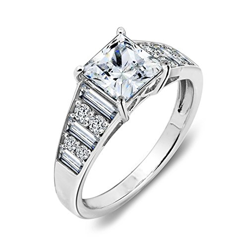 DIAMONBLISS Platinum Sterling Silver Cubic Zirconia Princess and Baguette Ring - 8 (Cocktail Side Ring Baguette)