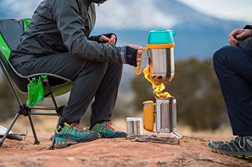 BioLite CampStove 2- Wood-Burning Small Lightweight Stove, USB FlexLight, Fire Starter, Generates 3W of Electricity for USB Charging Using Excess Heat, 5 x 5 x 8.3 Inches, Silver/Yellow (CSC1001) by BioLite (Image #7)