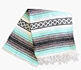 Del Mex (TM) Mint Sea Foam Teal Mexican Blanket Vintage Style