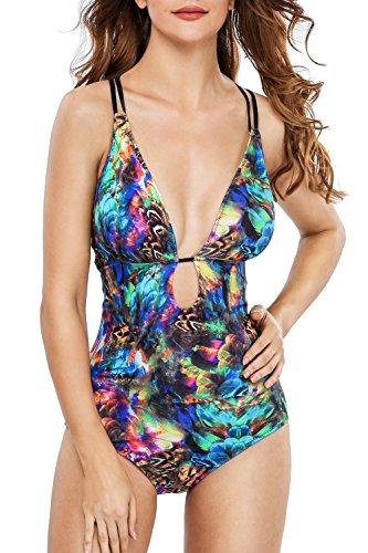 Sociala Womens Deep Plunge One Piece Swimsuit Lace Up Monokini Bathing Suit L Blue