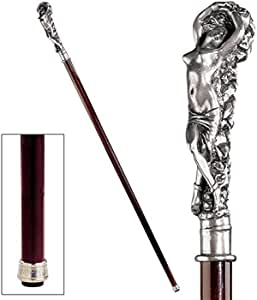 Design Toscano Andromeda Woman Walking Stick 36 Inch Silver Pewter Handle and Hardwood Cane