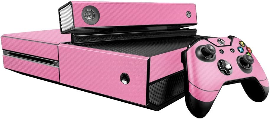 3D Carbon Fiber Soft Pink - Air Release Vinyl Decal Faceplate Mod Skin Kit for Microsoft Xbox One (XB1) Console by System Skins