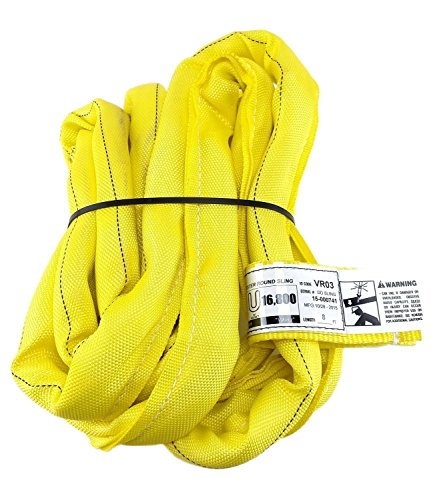 (USA Made VR3 X 8' Yellow Slings 4'-30' Lengths In Listing, DOUBLE PLY COVER Endless Round Poly Lifting Slings, 8,400 lbs Vert, 6,720 lbs Choker, 16,800 lbs Basket (USA Poly)(VR3 X 8 FT))
