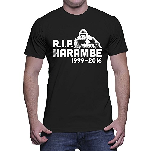 HAASE UNLIMITED Men's RIP Harambe 1999-2016 T-Shirt (Black, XX-Large)]()