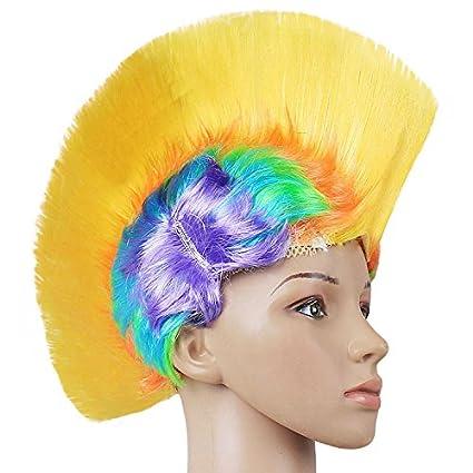 Ya1&Ya Halloween Funny Chicken fábrica Bola Ventiladores Divertido Colorido Mullido Peluca Punk Cresta de Gallo,