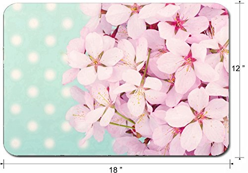 Liili Large Mouse Pad XL Extended Non-Slip Rubber Extra Large Gaming Mousepad, 3mm thick Desk Mat 18x12 Inch Pink cherry blossom flower bouquet on light blue vintage polkadot background Photo 19979131