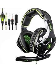 [Neu überarbeitete Version] SADES 810S Stereo Gaming Headset Kopfhörer mit volumenausgleich mic für New Xbox One, PS4, PS4 PRO, PC, Laptop, Mac, Phone - Grün