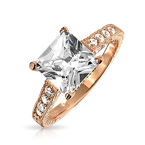 Rose Gold Plated.925 Silver 3ct Princess Cut CZ Pave Band Engagement ()