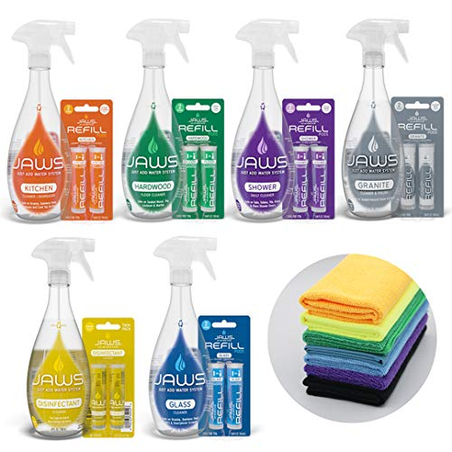 JAWS Ultimate Cleaning Kit   Kitchen, Glass, Shower, Granite, Hardwood and Disinfectant   2 Refill Pods of Each & Microfiber Cloths Included. Refillable Cleaning Products.