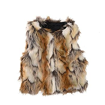 Baby Girl Faux Fur Vest Warm Sleeveless Jacket-Brown,M(2year)
