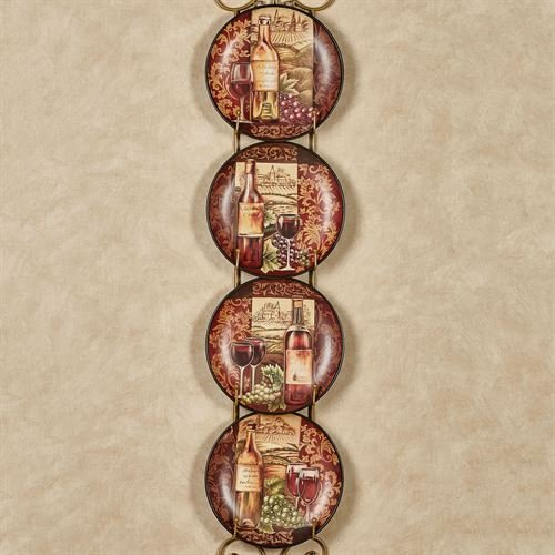 Touch of Class Sweet Squeezed Wine Decorative Plates Burgundy Set of Four (Decorative Wine Grapes)