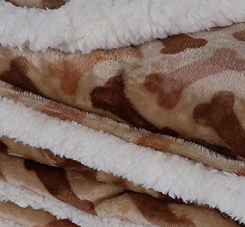 "Longrich Flannel Dog Bone Print & Ultra Soft Sherpa Throw Blanket, 70"" L X 50"" W, Taupe"