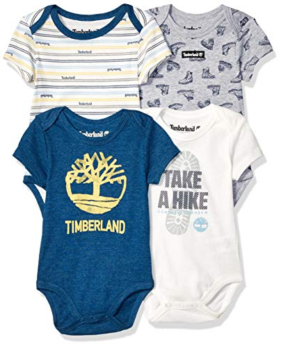 - Timberland Baby Boys 4 Pieces Pack Bodysuits, Grey/Vanilla/Navy, 18M