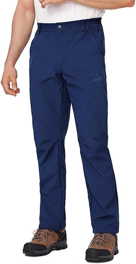CAMEL CROWN Pantaloni da Trekking Impermeabili da Uomo Antivento Pantaloni Softshell Fodera in Pile Pantaloni da Sci Snowboard Montagna Outdoor