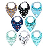 ALVABABY Baby Drool Bandana Bibs For Drooling Teething Feeding Super Absorbent 100% Cotton,Unisex Boys Girls Baby Gifts 8 Pack 8SD31