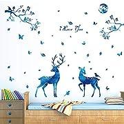 Letitia Matthew DIY Blue Giraffe Tree Wall Stickers Butterfly Deer Wall Decal Removable for Kids Christmas Decor Nursery Bedroom, 56×61 inch, PVC