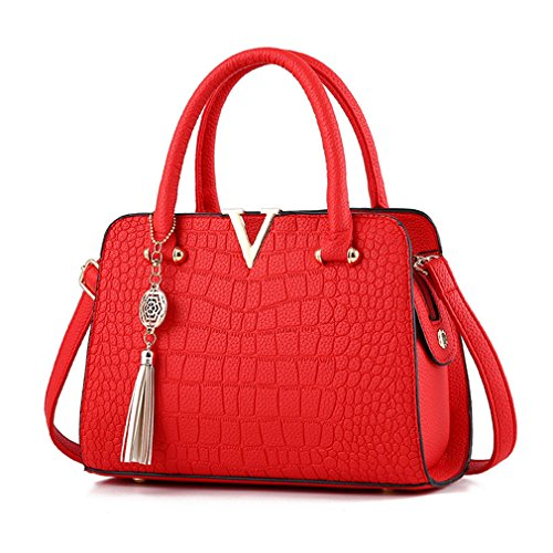 Women Handbags Leather Messenger Bags Bag Pendant Ladies Fringed V Alligator Shoulder Crossbody Red Letter Crocodile Rt5wqR