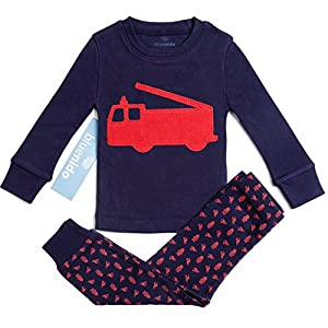 "100% Cotton ""fire Engine"" Boys 2 Piece Pajama Set (size 12m-7y) +2 Free Gifts!!"