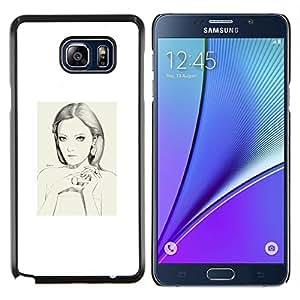 Retrato de la mujer blanca Depresión Sad- Metal de aluminio y de plástico duro Caja del teléfono - Negro - Samsung Galaxy Note5 / N920