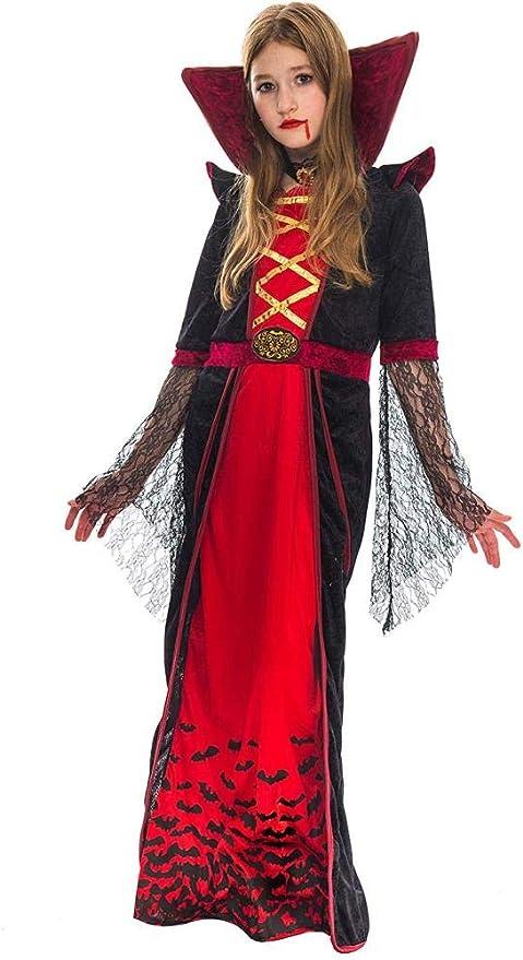 New kids Child Vampire Halloween Costume Gothic Dracula Vampire Dress Set