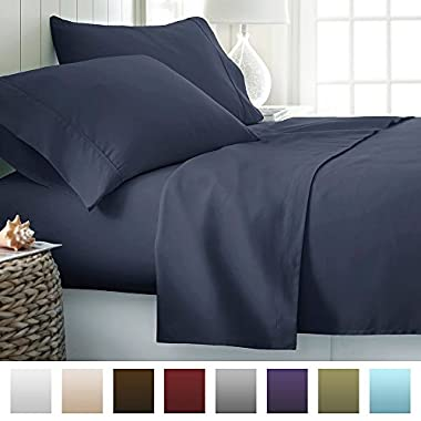 Beckham Hotel Collection Luxury Soft Brushed Microfiber 4 Piece Bed Sheet Set Deep Pocket - Queen - Navy