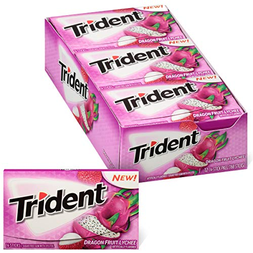 Trident Dragon Fruit Lychee Sugar Free Gum, Made with Xylitol, 12 Packs of 14 Pieces (168 Total Pieces)