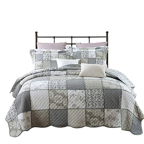 PERYOUN 3-Piece Quilt Set Pure Cotton, Patchwork Bedspread Set, Finely Stitched, Coverlet Bed Cover, Queen Size (Queen Bedding Sets Country)