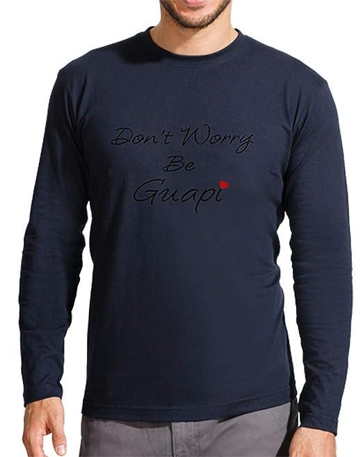 latostadora - Camiseta Dont Worry Be Guapi para Hombre Azul Marino S