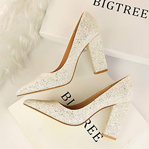 Yukun zapatos de tacón alto Autumn Red Bridal Shoes Thick with Pointed Silver Gold Wedding Shoes Sequins High-Heeled Shallow Mouth Women's Shoes White