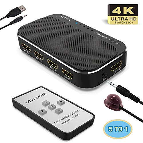 HDMI Switch 4k, GANA HDMI Switcher   5-Port HDMI Splitter Box with Remote Control and 4K/1080p/3D Supported